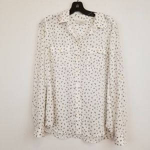 LOFT white printed button down blouse top